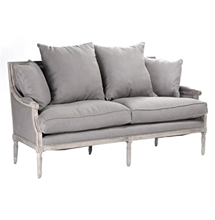 Kathy Kuo Home St. Germain French Country Limed Oak Louis XVI Grey Linen  Sofa