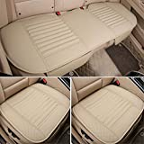 3Pcs Car Seat Cover Universal Non Slip Cushion Pad Mat for Auto Interior/ Office Chair with PU Leather Bamboo Charcoal (Beige)
