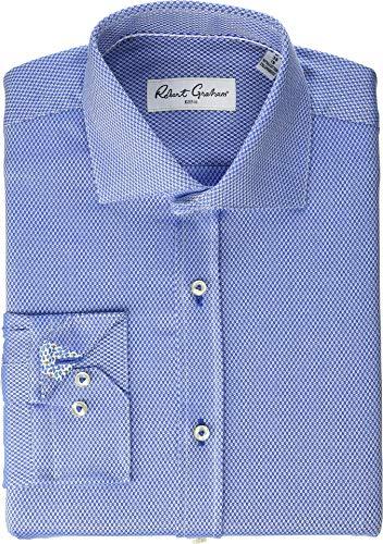 (Robert Graham Mens Carey Long Sleeve Stretch Dress Shirt French Blue 16.5 (LG))