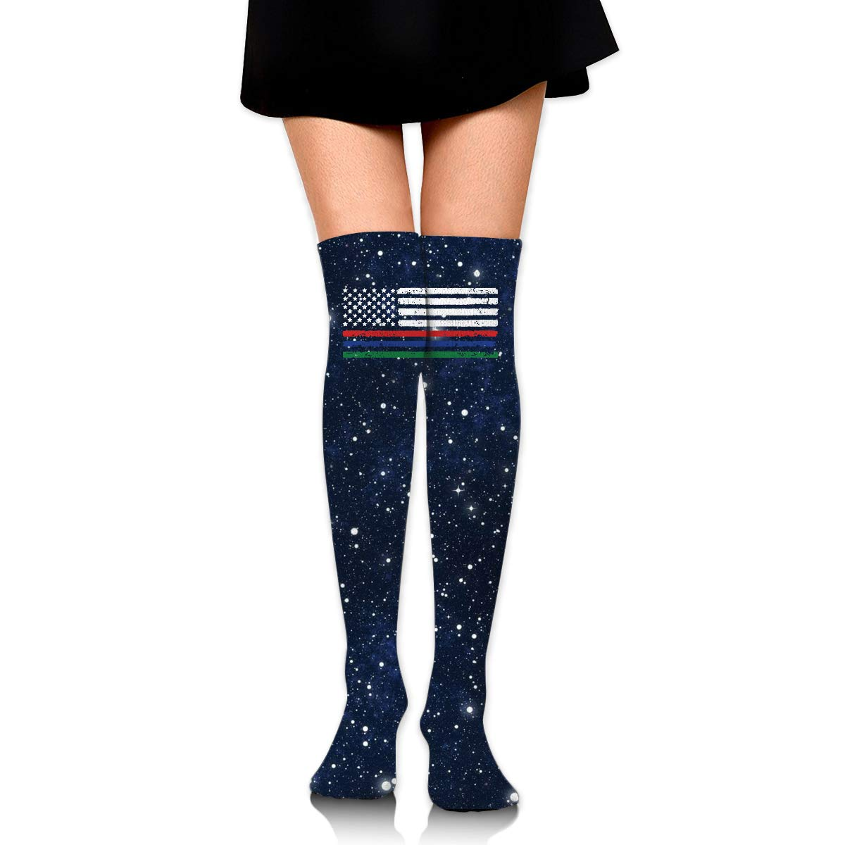 Girls Womens Thin Red Blue Green Line American Flag Over Knee Thigh High Stockings Cute Socks One Size