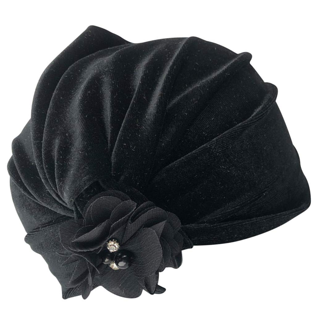 Aulley Hand Sewing Pearl Flower Velvet Indian Hat Baby Girls Boys Photography Cap Autumn Winter Warm Beanie