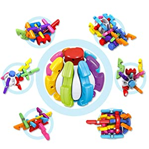 STEM Toys Building Blocks Ball Stacking Toys Games for Kids Toddles Creative Construction Learning Toys-11PCS Switching Puzzle Ball Educational Building Toy Set for Boys and Girls