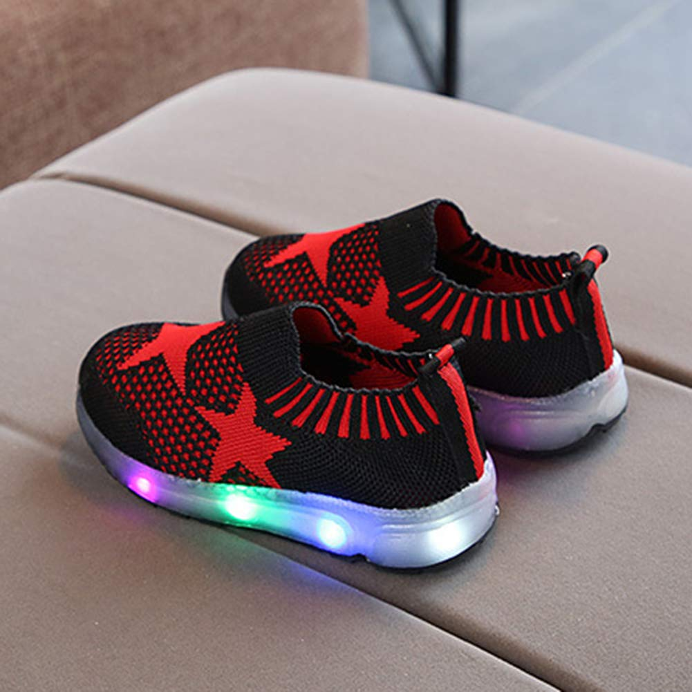 Alamana Fashion Star Print Kids Girls Boys LED Light Sneaker Anti-Slip Casual Shoes Red 28