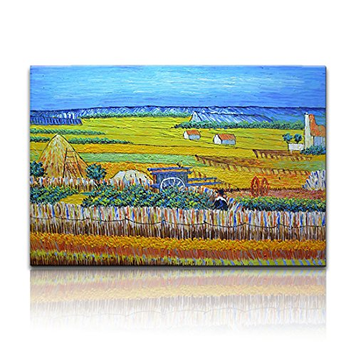 Desihum-(100% Hand Painted Harvest by Van Gogh Famous Oil Paintings Reproduction Modern Landscape Canvas Artwork Rural Yellow Fields Pictures for Living Room Wall Art Home (Famous Landscape Oil Paintings)