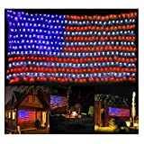 Decute Upgraded American Flag Lights 390 LED Curtain String Light Decor Fairy Lights for 4th of July Independence Day, Memorial Day, Garden Outdoor Decoration
