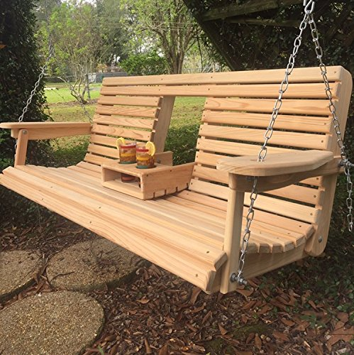 5 Ft Cypress Porch Swing with Flip Down Console Cup Holders & Unique Adjustable Seating Angle - Handmade in Louisiana (Louisiana Cypress Swings)