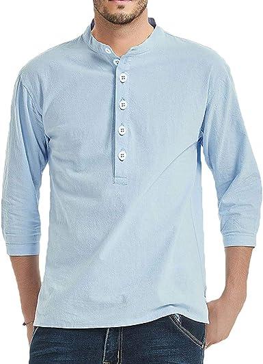 WEIMEITE Camisa Casual De Color Puro para Hombres Camisa De Manga Tres Cuartos Cuello Alto Jersey Blusa Casual para Hombre con Botones: Amazon.es: Ropa y accesorios