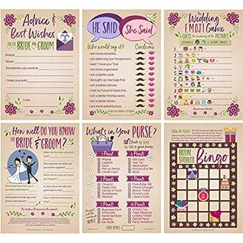6 bridal shower games for 25 guests marriage advice wedding emoji game he said she said game bridal bingo