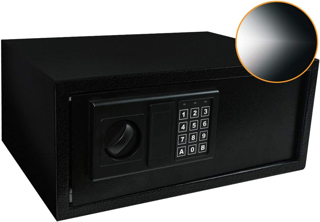 SamYerSafe Safe Box with Sensor Light,0.8 Cubic Feet Security Safe with Electronic Digital Keypad Money Safe Steel Construction Hidden with Lock,Wall or Cabinet Anchoring Design for Office Home Hotel