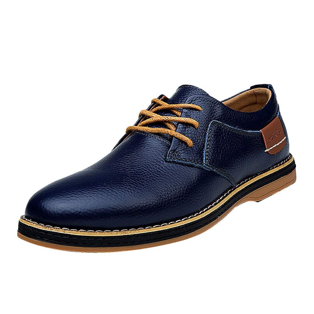 Mens Lace-Up Shoes Driving Leather Sneakers Casual Shoes Formal Business Shoes RedBrowm Blue