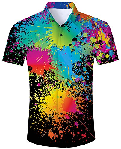Mens Hawaiian Shirts Casual Button Down Dark Colorful Black Paint Splash Short Sleeve Floral Aloha Shirt Tee Tops