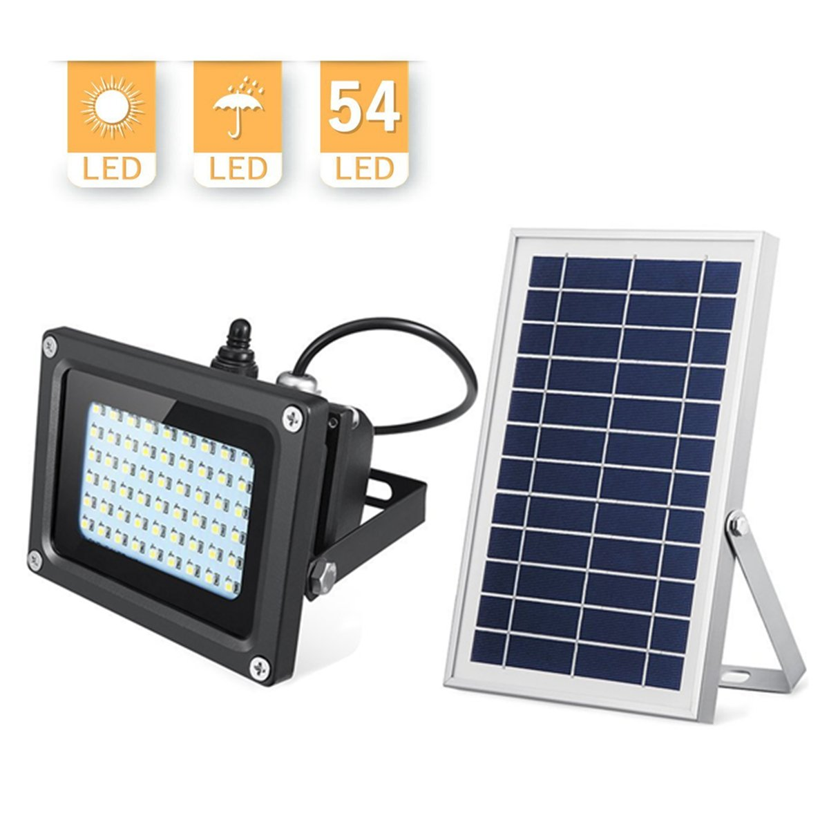 Solar Lights Outdoor, KingSo 6V 6W Higher Power Solar Panel LED Flood Light, Waterproof IP65 Light Sensor Security Light for Garden Farm Shed Garage Yard Hotel Square Mall Lawn Pool Driveway