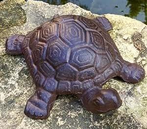 Antikas - una tortuga grande como decoración - bancal de piedra - decoración terraza - estanque - hierro fundido