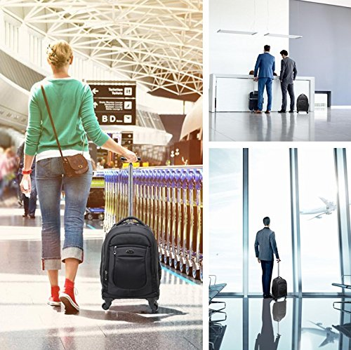 Racini Nylon Waterproof Rolling Backpack, Freewheel Travel School Wheeled Backpack, Carry-on Luggage with Anti-theft Zippers (Black) by Racini (Image #7)
