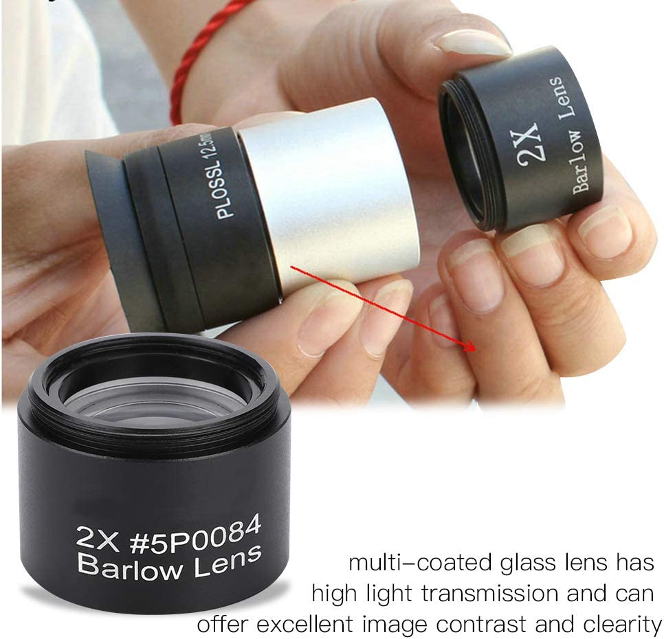2X Magnification M28.6 Thread Barlow Lens for Astronomical Telescope Eyepiece Madezz Qiilu 1.25 Inch Barlow Lens
