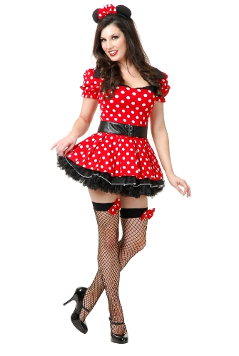 Retro Miss Mouse Costumes (Charades Women's Miss Mouse Pin Up Costume Set, Red, Large)