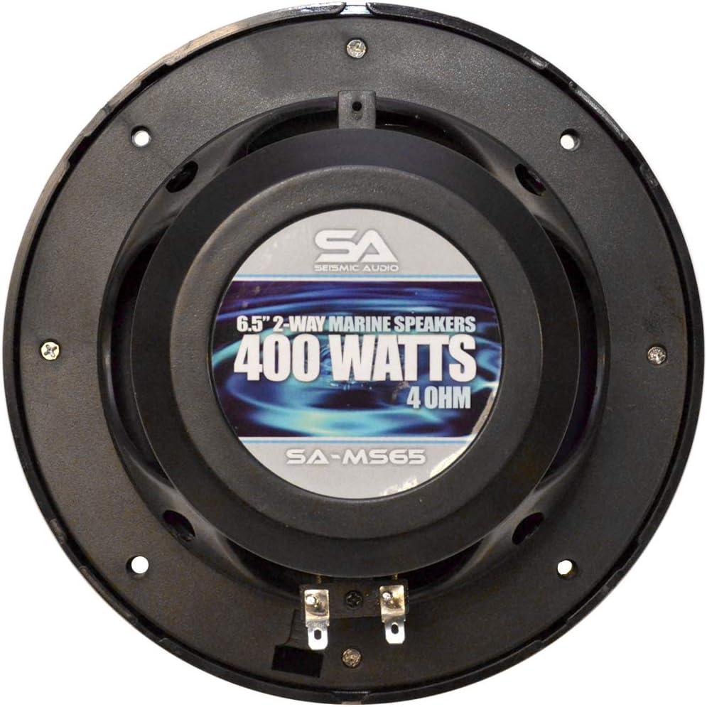 Seismic Audio Pair of 400 Watt 6.5 Inch 2-Way Waterproof Boat//Marine Speakers 800 Watt Marine Speaker System SA-MS65B