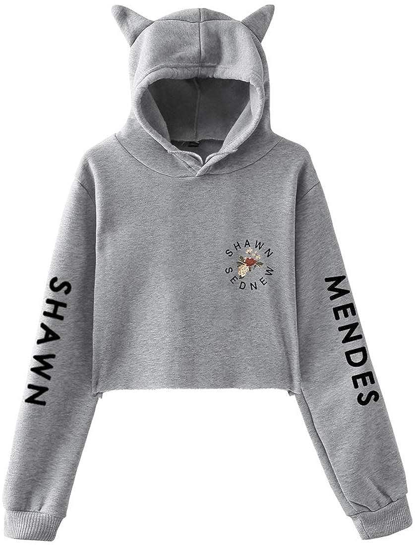 EMILYLE Fille Sweat /à Capuche Shawn Mendes Pull Floral Lost in Japan Oreilles de Chat Crop Manches Longues