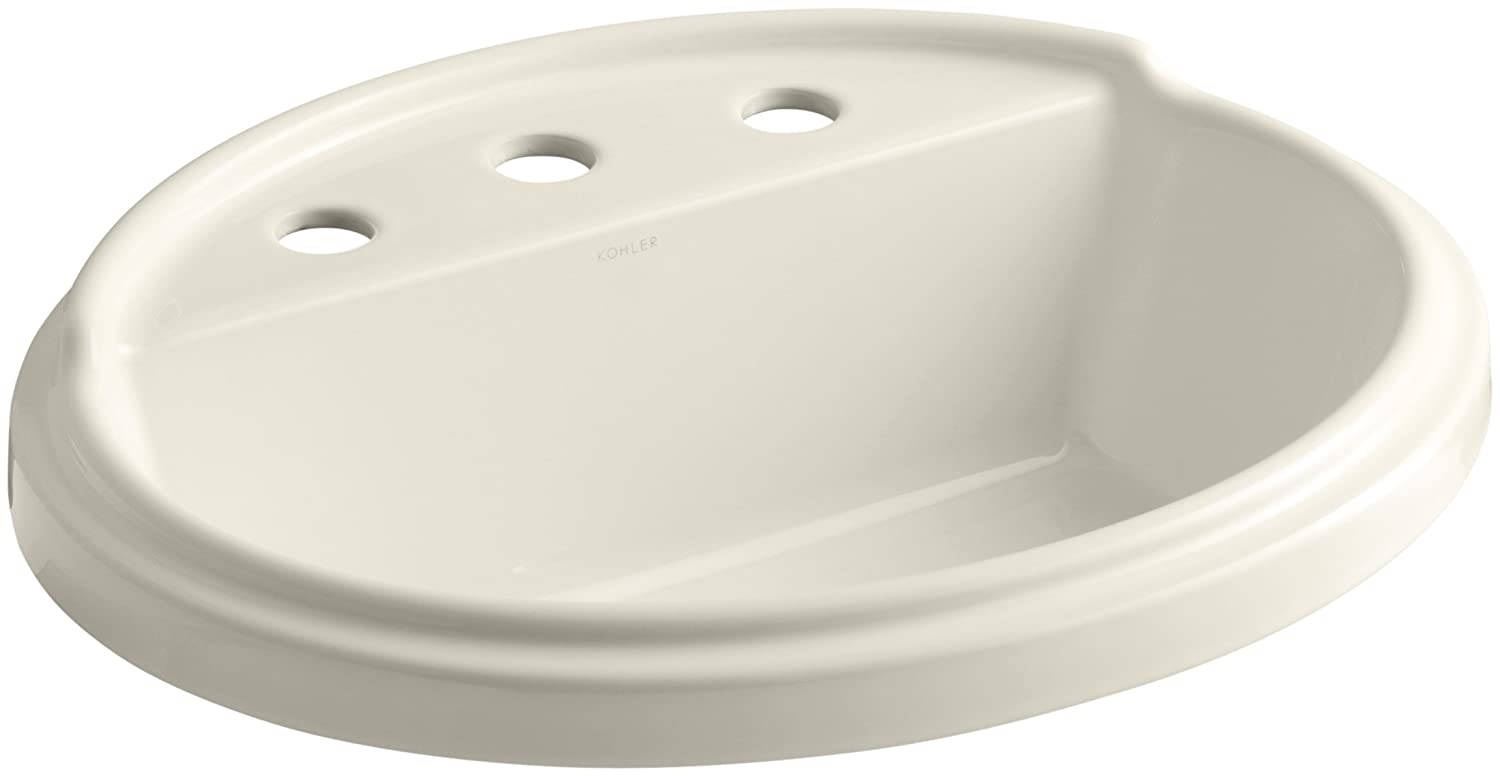 KOHLER K-2992-8-47 Tresham Oval Shaped Self-Rimming Bathroom Sink with 8-Inch Widespread Faucet Drilling Almond