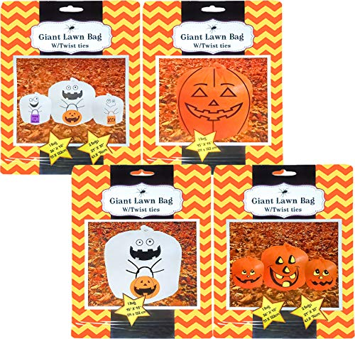 Set Of 4 Halloween Decorative Giant Lawn Bags With Twist Ties (Pumpkin & -