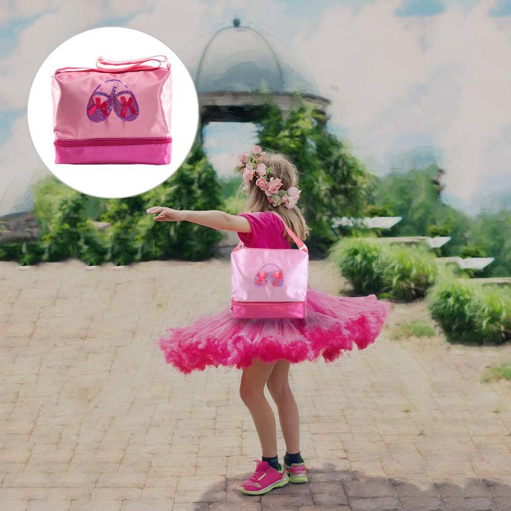 Bolso bandolera Ballet Latin Dance Tote Bag para Bailarina Bailarina Adolescente con Bailarina para Ni/ños con Doble Capa y Correa Ajustable
