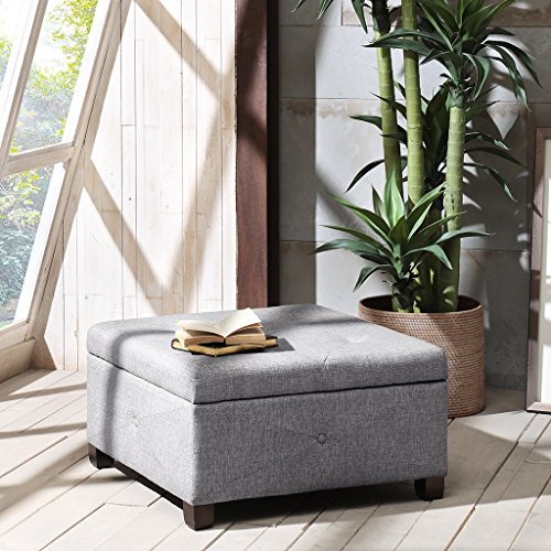 Madison Park FPF18-0256 Aspen Button Tufted Storage Ottoman by Madison Park