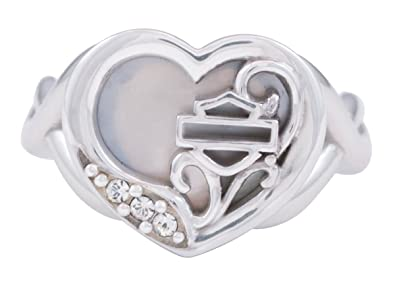 952ce08c5 Harley-Davidson Womens .925 Silver Mother of Pearl Filigree Heart Ring (5)