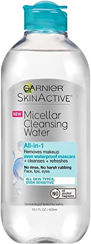 Garnier Micellar Cleansing Water for All Skin Types, Waterproof Makeup Remover, 400 mL