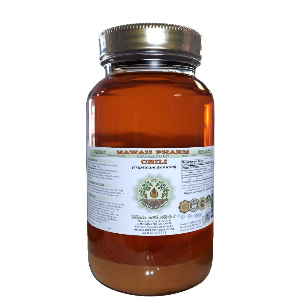 Chili Alcohol-FREE Liquid Extract, Organic Chili (Capsicum annuum) Dried Fruit Glycerite Hawaii Pharm Natural Herbal Supplement 32 oz Unfiltered