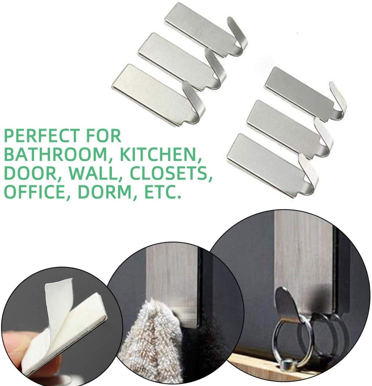 6PCS Self Adhesive Hooks Strong Hanger Home Wall Door Hanger Stainless Steel Holder Hook Hanger for Kitchen Bathroom AD