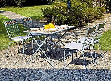 Vorghini Set Tavolo E 4 Sedie Da Giardino In Ferro Con Mosaico Casablanca Amazon It Giardino E Giardinaggio