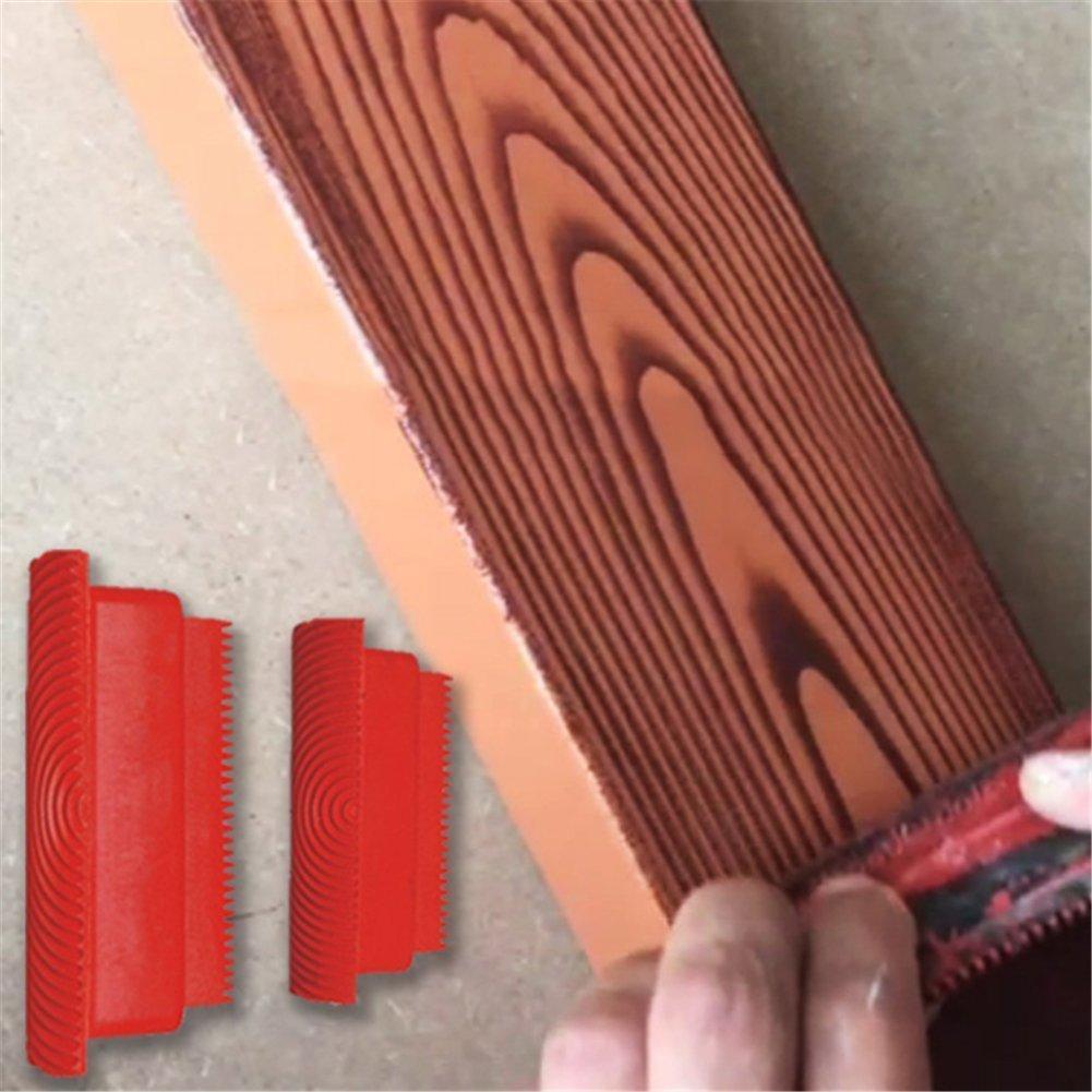 Preamer 2Pcs Rubber Round Wood Grain Wheel Brush Wall Texture Art Paint Tool Set ,3'' 6''