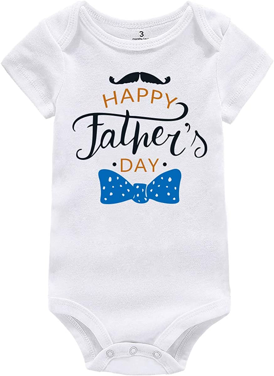 AMMENGBEI Happy 1st Father/'s Day Daddy Newborn Infant Baby Bodysuit Outfits Short Sleeve Rompers Boys Girls