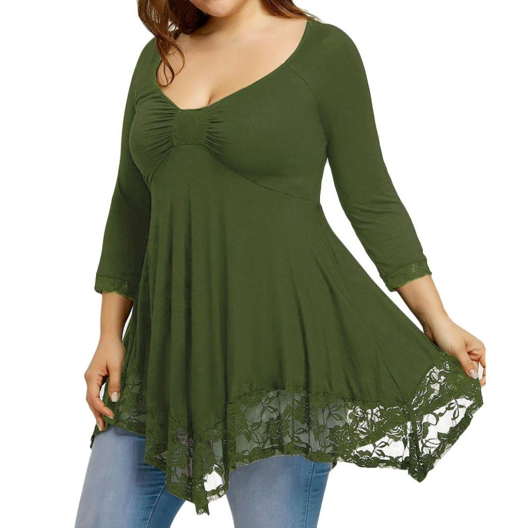 Leedford Plus Large Size Solid Women Lace Shirt Blouse Long Sleeve Casual Plus Size Tops Pullover (3XL, Green)