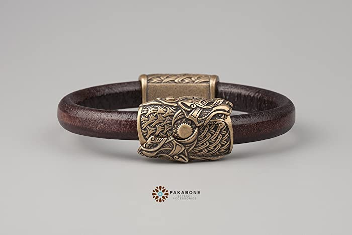 Amazon Com Viking Bracelet With Wolves Scoll And Hati Leather