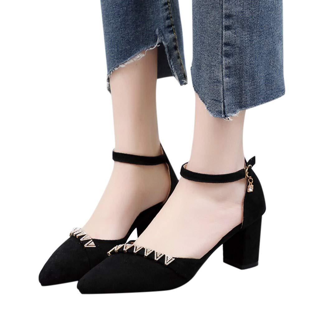 Women's Closed Toe Ankle Strap Espadrilles Sandals Women Chunky Heel Dress Pumps Square Mid Heels Shoes Size 5-9 (US:8, Black)