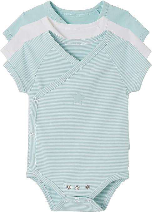 VERTBAUDET Lote de 3 Bodies recién Nacido evolutivos algodón Stretch Manga Corta Azul Claro Bicolor/Multicolor Prematuro - 45CM: Amazon.es: Bebé