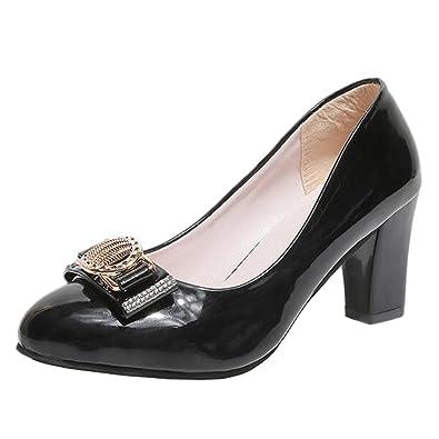 faec66bc457 Mashiaoyi Women s Pointed-Toe Block-Heel Slip-on Diamond Court Shoes 2 UK