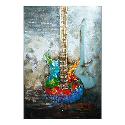 Guitarra Arte Pinturas sobre lienzo de pintura al óleo de pared Art Decor estirada y enmarcado