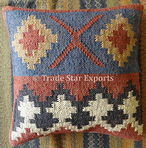 Kilim Pillow, Indian Cushion Cover 18x18, Jute Throw Pillow Cases, Decorative Handwoven Cushions, Boho Pillow Shams Old Kilim Pillow