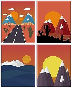 "Modern Aesthetic Mountain Sunrise Art Painting Set of 4 ( 8""x10""Canvas Picture) Modern Mid Century Geometric Nature Landscape Art Prints Living Room Locker Bedroom Office Kitchen Decor Wall Frameless"