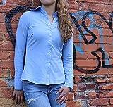roz + loki Calpe Blue Womens Cotton Jersey Button Down Shirt