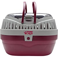 Living World Small Animal Carrier, Burgundy/Grey
