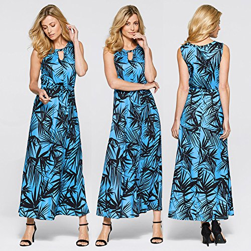 JIALELE Vestido Fiesta Mujer,De Fiesta,Vestidos Para Mujer Impresión De Hojas De Bambú Vestido Blue