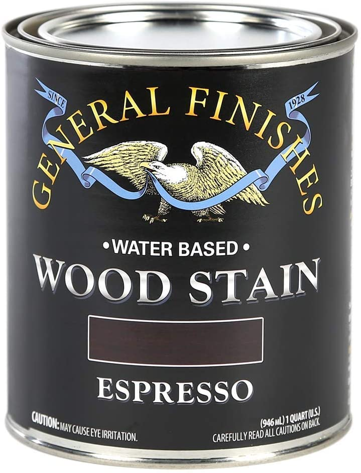 General Finishes Water Based Wood Stain, 1 Quart, Espresso