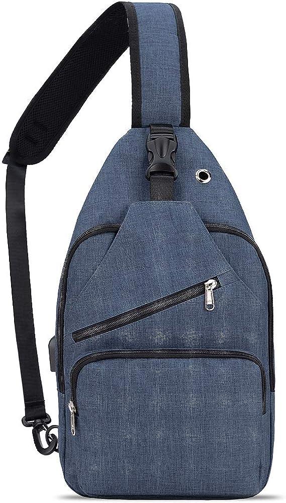 HOLYBIRD Canvas Casual sling bag, Chest Shoulder Bag Outdoor Travel Crossbody Backpack with YKK zipper for Men Women