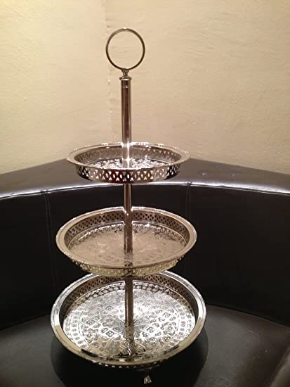 Authentic Handmade Moroccan 3 Tier Silver Plated Brass Hand Hammered  Cookies Tray Cake Stand Modern Design