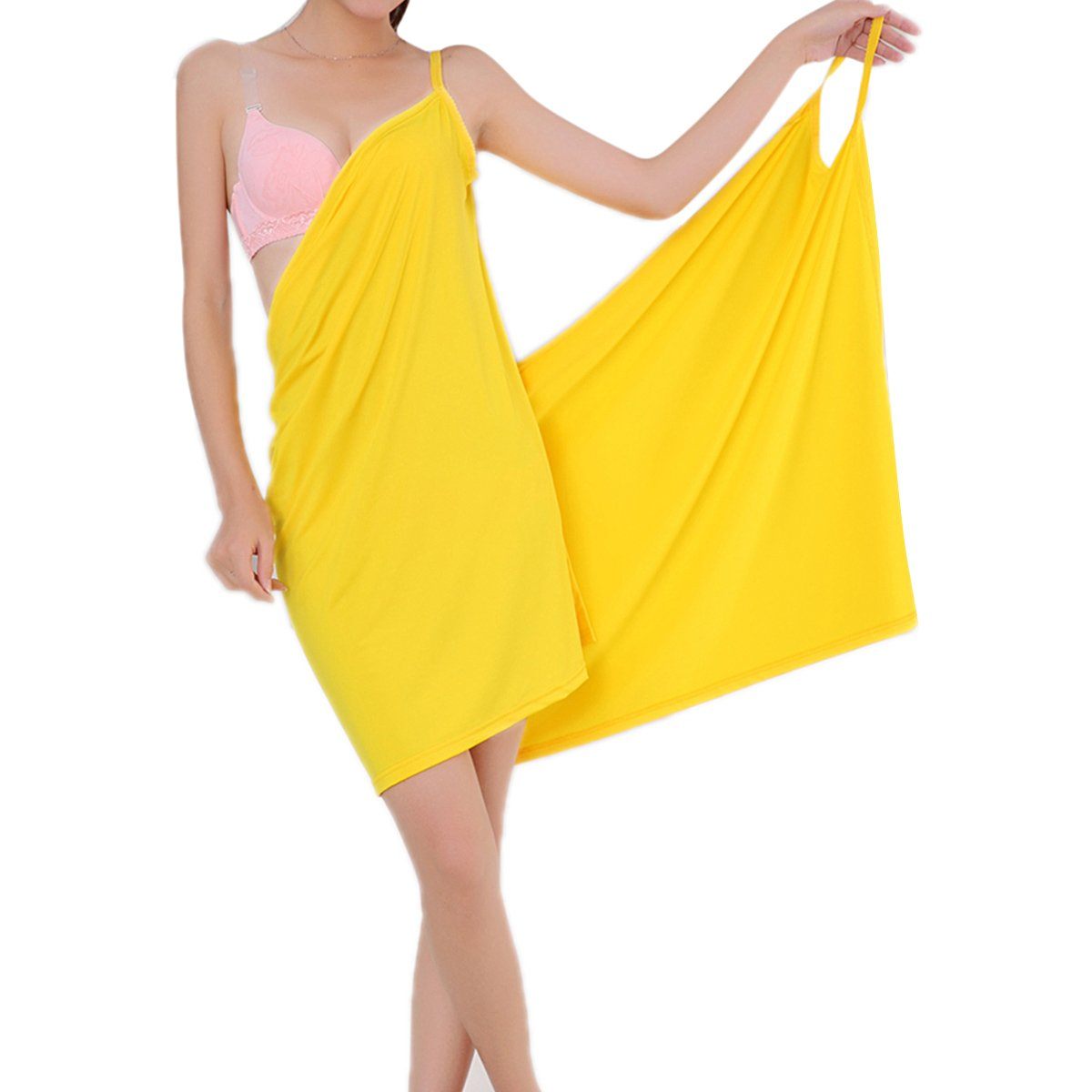 gracosy Beach Towel Wrap, Summer Ice Silk Soft Wearable Deep V Sexy Beach Dress Robe Towel Cover Up for Travel Spa Swimming Sport for Girl Ladies 55'' x 29'' Yellow 55'' X 29''