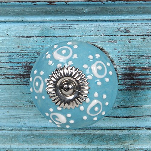 6 Beautiful Ceramic - Intradeglobal's Birch Cabinet Novelty Ceramic Knobs (Set of 6) Beautiful Design and Hand-Painted Elegance. Decorative knob Teal with White dots
