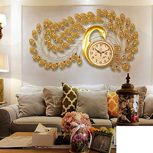 modern minimalist Peacock clock table/Creative European personalities decorated the living room clock mute-A
